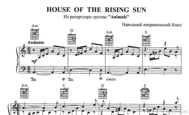THE HOUSE OF THE RISING SUN (ANIMALS) notes of an accordion / bayan