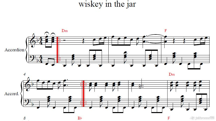 WISKEY IN THE JAR (METALLIKA) для аккордеона