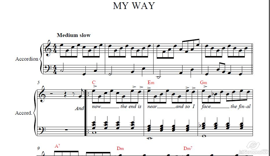 My Way sheet music for accordion (Frank Sinatra)