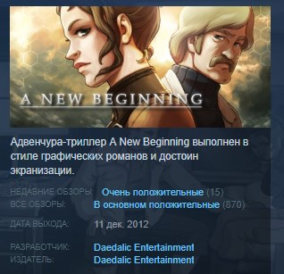 A New Beginning Final Cut STEAM KEY REGION FREE GLOBAL