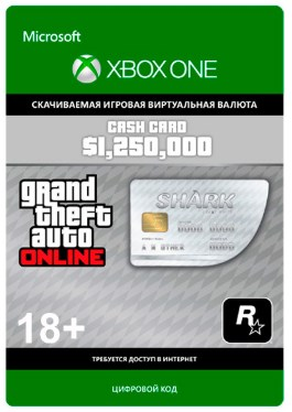 GRAND THEFT AUTO $1,250,000 GREAT WHITE SHARK CASH CARD