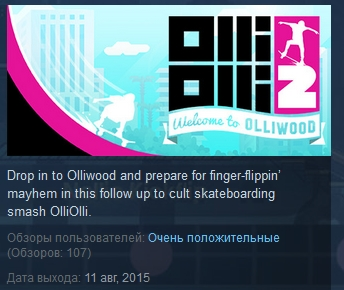 OlliOlli2 OlliOlli 2 Welcome to Olliwood STEAM GIFT