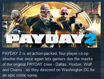 PAYDAY 2 Electarodent +Titan Masks STEAM KEY E3 2015