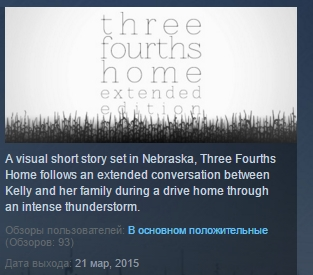 Three Fourths Home: Extended Edition STEAM KEY GLOBAL