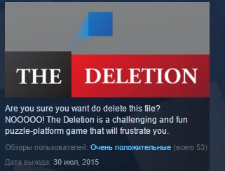 The Deletion ( Steam Key / Region Free ) GLOBAL ROW
