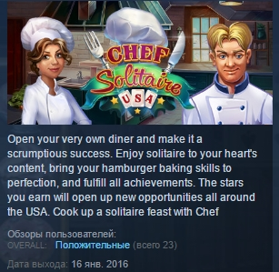Chef Solitaire: USA  STEAM KEY REGION FREE GLOBAL