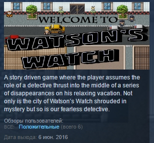 Watson´s Watch ( Steam Key / Region Free ) GLOBAL ROW