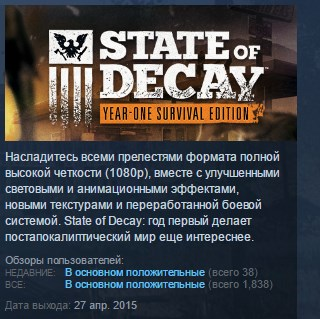 State of Decay Year One Survival Edition YOSE STEAM