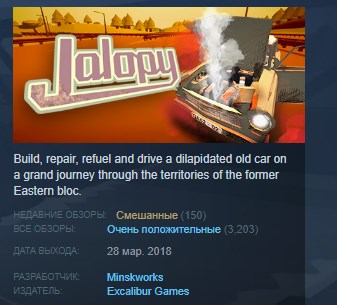 Jalopy The Road Trip Driving Indie Game STEAM GLOBAL 💎