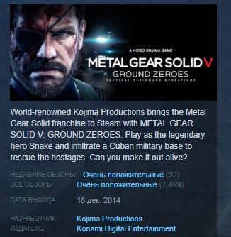 METAL GEAR SOLID V: GROUND ZEROES STEAM KEY 💎