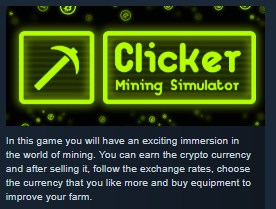 Clicker: Mining Simulator STEAM KEY REGION FREE GLOBAL 2019
