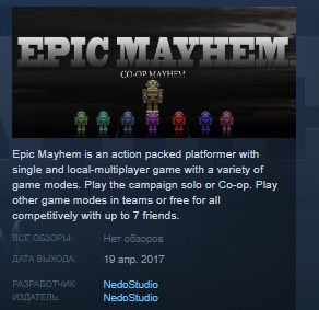 Epic Mayhem STEAM KEY REGION FREE GLOBAL 2019