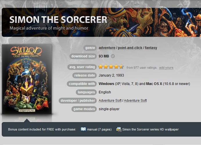 Simon the Sorcerer ( GOG.COM Key )