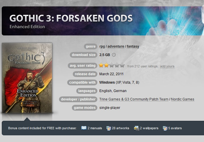 Gothic 3 Forsaken Gods Enhanced Edition ( GOG.COM Key )