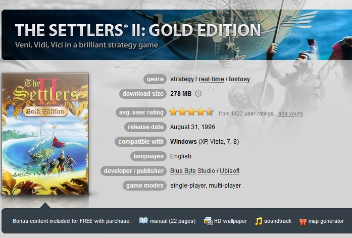 The Settlers 2: Gold Edition ( GOG.COM Key )