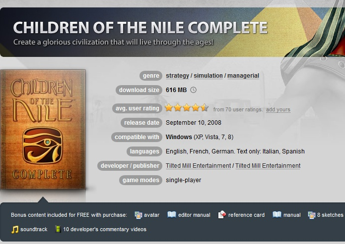 Children of the Nile Complete ( GOG.COM Key )