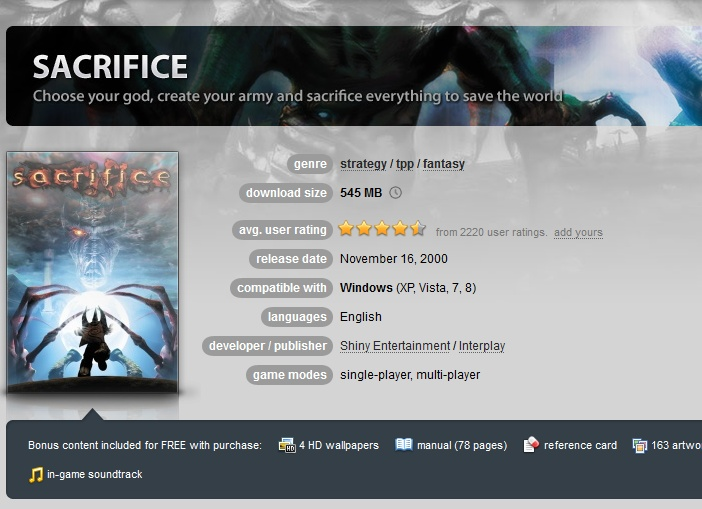 Sacrifice ( GOG.COM Key )