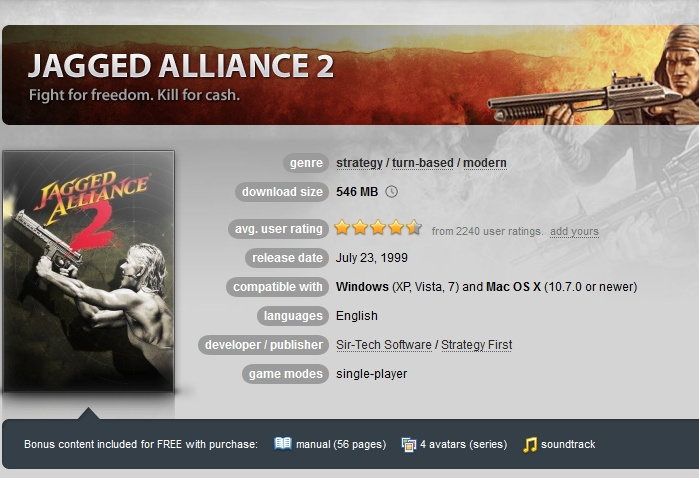 Jagged Alliance 2 ( GOG.COM Key )