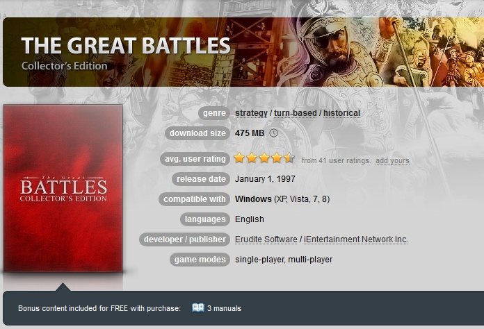 Great Battles Collector´s Edition  ( GOG.COM Key )