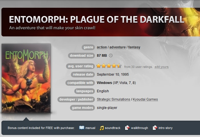 Entomorph: Plague of the Darkfall ( GOG.COM Key )