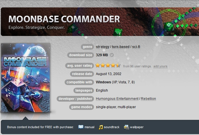 Moonbase Commander ( GOG.COM Key )
