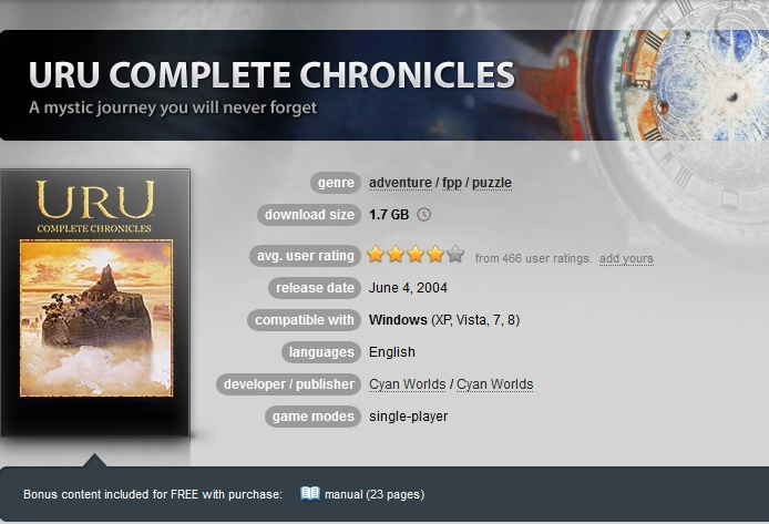 Uru: Complete Chronicles ( GOG.COM Key )