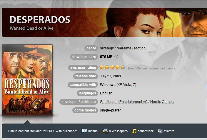 Desperados: Wanted Dead or Alive ( GOG.COM Key )