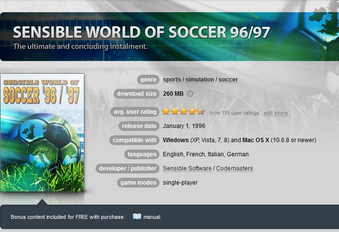 Sensible World of Soccer 96/97 ( GOG.COM Key )