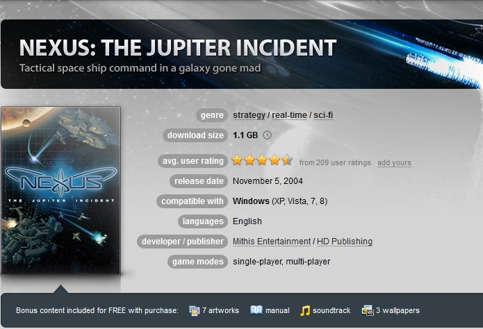 Nexus: The Jupiter Incident (GOG.COM Key)