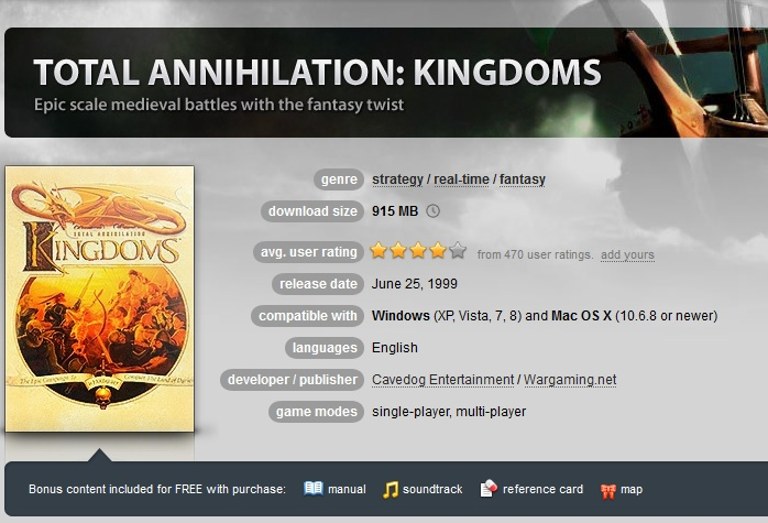 Total Annihilation Kingdoms + Expansion ( GOG.COM Key )