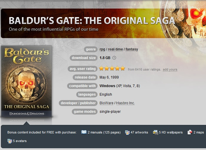 Baldur´s Gate: The Original Saga ( GOG.COM Key )