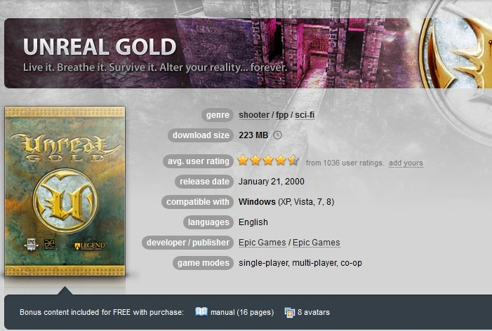 Unreal Gold ( GOG.COM Key )