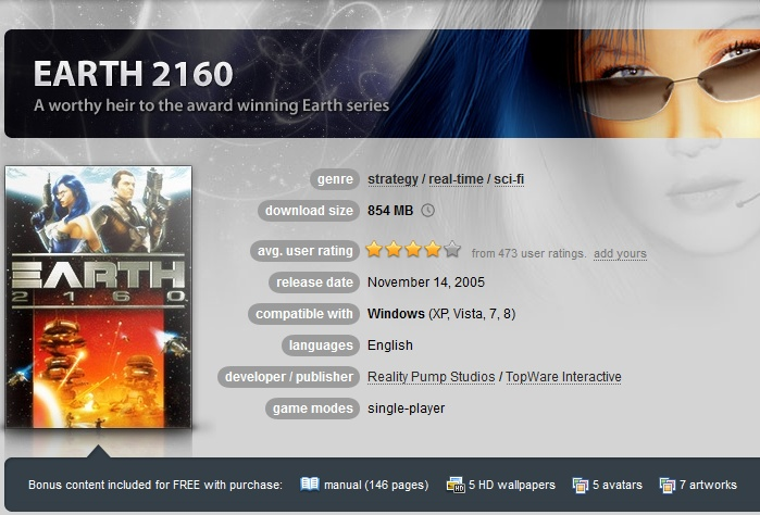 Earth 2160 ( GOG.COM Key )