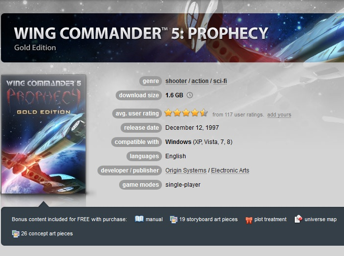 Wing Commander 5: Prophecy Gold Edition ( GOG.COM Key )