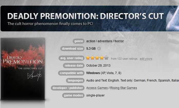 Deadly Premonition: Director´s Cut  ( GOG.COM Key )