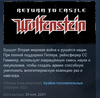 Return to Castle Wolfenstein STEAM KEY СТИМ ЛИЦЕНЗИЯ