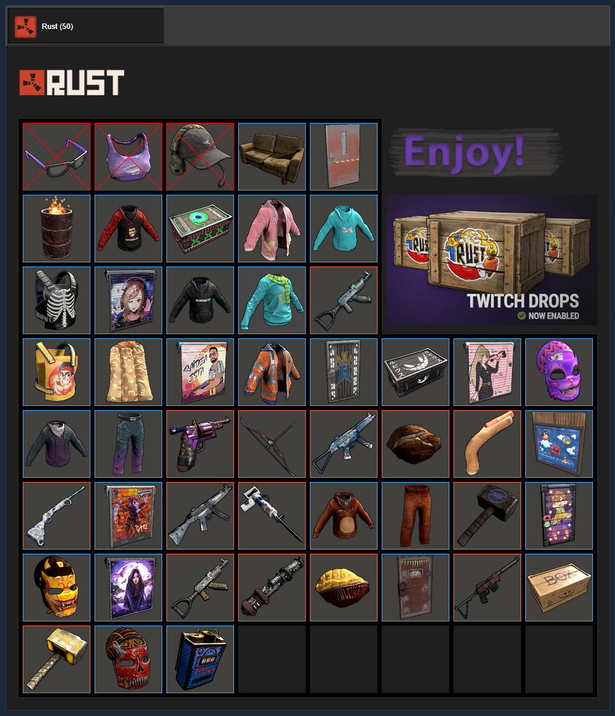 Buy Rust Skins 1 Twitch Drops Round 2 3 4 5 47 Items And Download