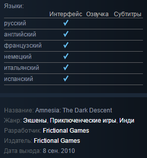Amnesia: The Dark Descent (Steam Gift / RU CIS)
