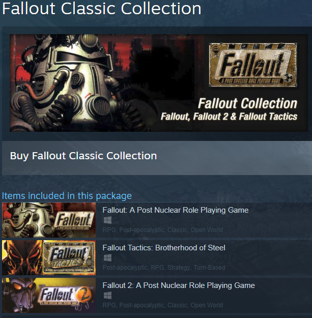 Fallout 1 + 2 + Tactics: Classic Collection /Steam /ROW