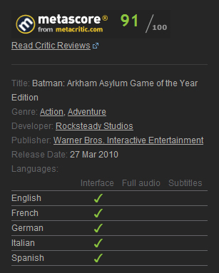 Batman: Arkham Asylum GOTY (Steam Gift / Region Free)