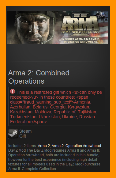 ARMA II 2: Combined Operations (Steam Gift RU CIS)+DayZ