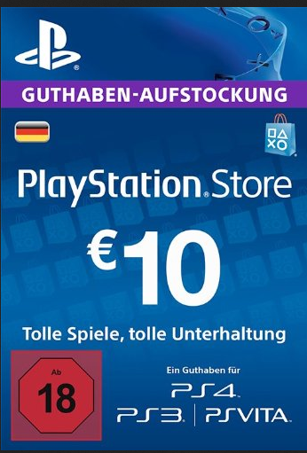 PSN Gift Card Code DE €10 EUR for PS4, PS3, PS Vit