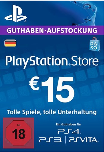 PSN Gift Card Code DE €15 EUR for PS4, PS3, PS Vit
