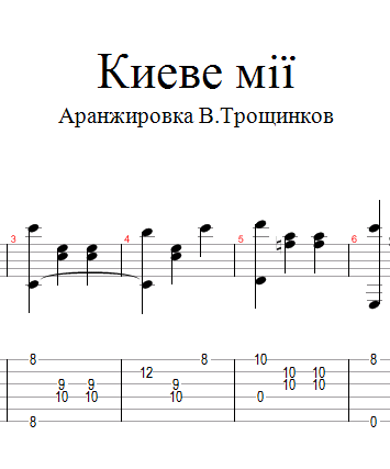 In Kiev my. Sheet music and tabs for guitar