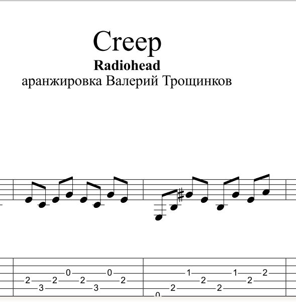 Creep - Radiohead. Scores tabs for guitar and GTP.