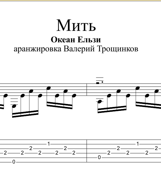 Mit - Okean Elzy. Sheet music and tablatures for guitar