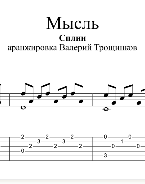 Thought - Spleen. Sheet music and tabs for guitar