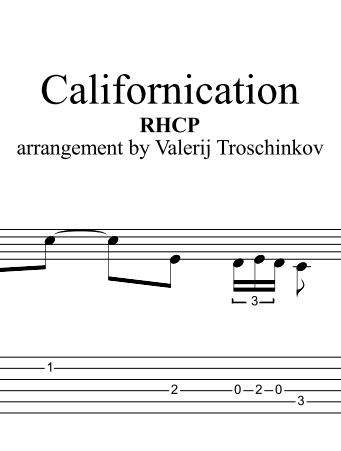 Californication - RHCP. Sheet music and tabs for guitar