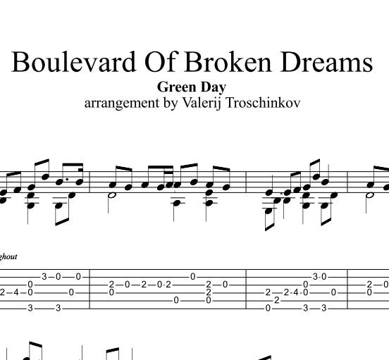 Boulevard Of Broken Dreams - Green Day. Ноты и табы