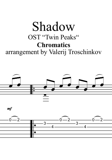 Shadow - Chromatics. Sheet music and tabs for guitar